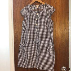 JCrew cotton low waist drawstring gingham dress